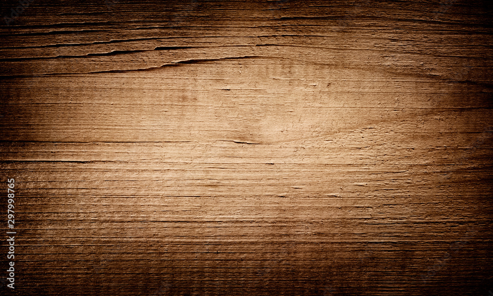 Fototapety, obrazy: Old brown dark grunge scratched wooden cutting, chopping board. Wooden texture