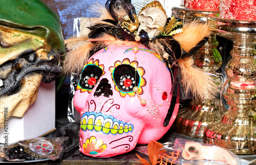 Halloween, pink skull doll with female makeup and a hat with feathers isolated on a blurred background Canvas-taulu
