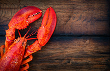 Steamed Lobster Seafood On Wood Background