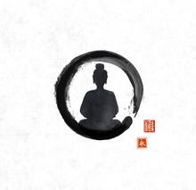 Silhouette Of Meditating Buddh...