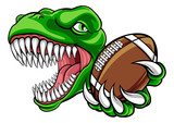 A dinosaur T Rex or raptor American Football player cartoon animal sports mascot holding a ball in its claw