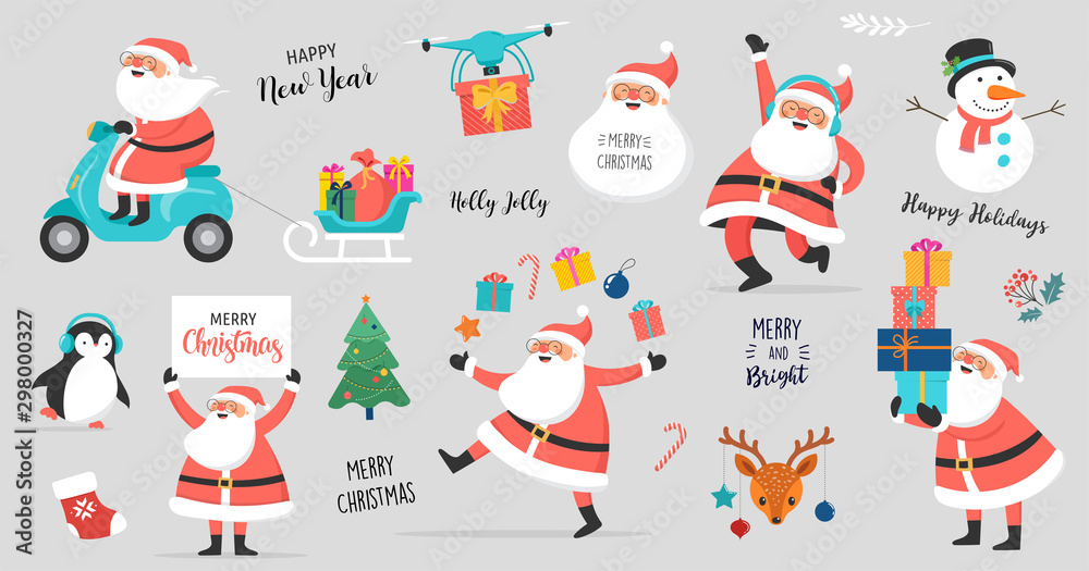 Fototapeta Collection of happy Santa Clauses, dancing, jumping, holding sign, driving on scooter. Vector illustration