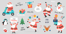 Collection Of Happy Santa Clau...