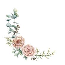Watercolor Pink Roses And Eucalyptus Wreath. Hand Painted Floral Vintage Flowers, Seeds, Juniper And Lambs Ears Isolated On White Background. Botanical Illustration For Design, Print Or Background.