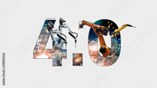 Photo Stands Amsterdam Industry 4.0 concept, iot, automation robot arms machine and monitoring system software, Welding robotics and digital manufacturing operation and industrial technology.