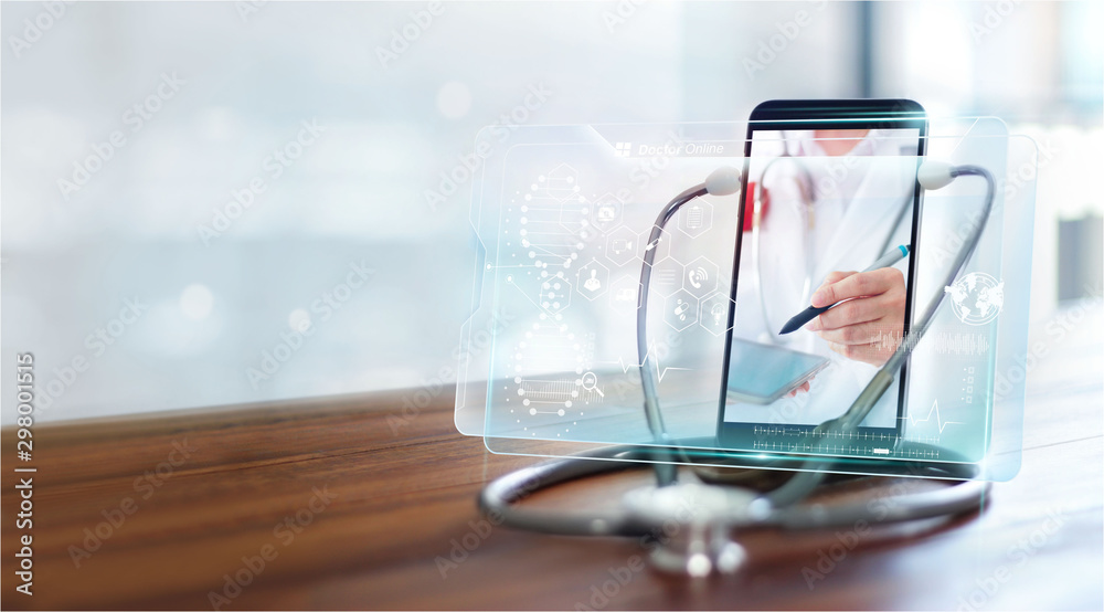 Fototapeta Online medical communication with patient on virtual interface, Online and medical consultation, Virtual hospital.