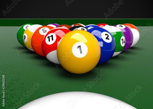 Foto American Pool Billiards Balls Table Set Up 3D Render