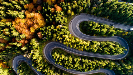 Colourful autumn landscape aerial view of highway, cars, trees with yellow and orange leaves. Europe roads details