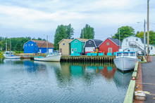 Pier, Fishing Boats And Colorf...