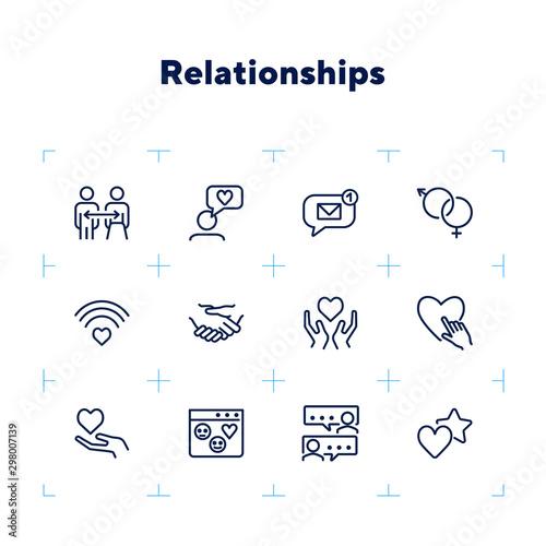 Relationships line icon set Wallpaper Mural