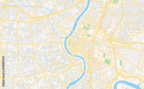 Fototapeta Printable street map of Bangkok, Thailand