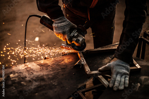 Fotografie, Obraz Sparks from metal sawing