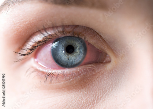 Macro of red woman eye Canvas Print