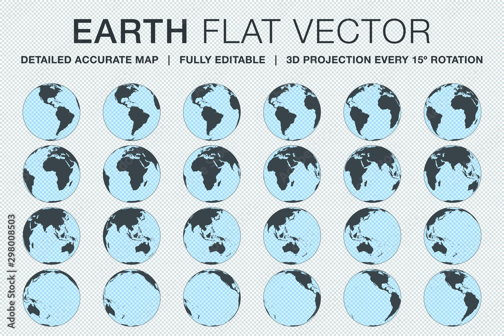 Fototapety, obrazy: Planet Earth flat vector made from 3d projection of detailed accurate globe map every 15º rotation to show all continents, oceans and countries around the world. Fully and easily editable file