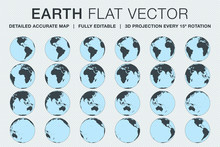 Planet Earth Flat Vector Made From 3d Projection Of Detailed Accurate Globe Map Every 15º Rotation To Show All Continents, Oceans And Countries Around The World. Fully And Easily Editable File