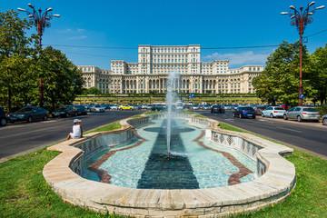BUCHAREST, ROMANIA - August 28, 2017: Parliament in Bucharest, Romanian