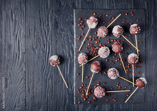 chocolate cake pops sprinkled with crushed candy Poster Mural XXL