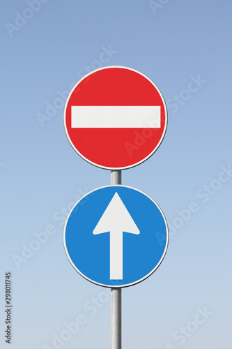 Photo Contradiction concept with road signs - concept image