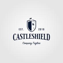 Castle Shield Vintage Logo Retro Vector Icon Illustration Design