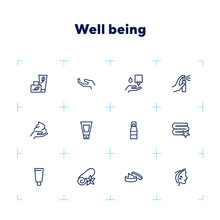 Well Being Line Icon Set. Face...