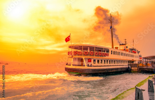 Valokuvatapetti Muslim architecture and water transport in Turkey - Beautiful View touristic landmarks from sea voyage on Bosphorus