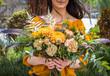 Leinwanddruck Bild - summer flowers bouquet in girl hands