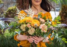 Summer Flowers Bouquet In Girl...