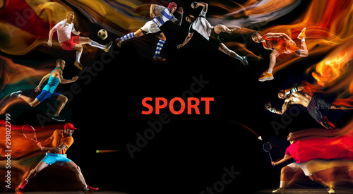Autocollant pour porte Kiev Creative collage of unrecognizable models running and jumping. Advertising, sport, healthy lifestyle, motion, activity, movement concept. American football, soccer, tennis volleyball box badminton