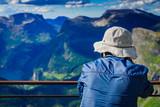 Tourist on Dalsnibba platform, Norway