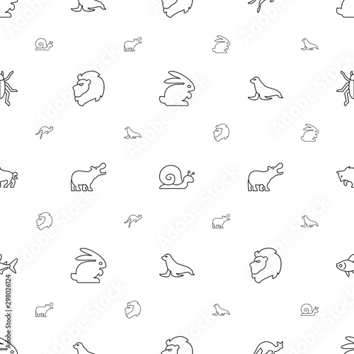 Fotografie, Obraz  wildlife icons pattern seamless white background