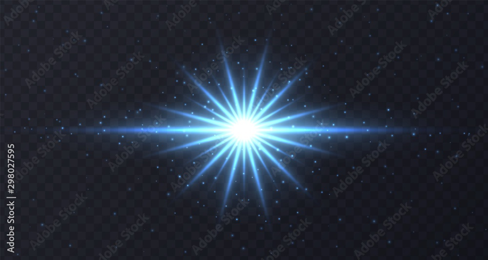 Fototapety, obrazy: Shining flare with stars and sparkles isolated on dark transparent background. Blue lens flare, stardust, shining star with rays concept. Glowing vector light effect.
