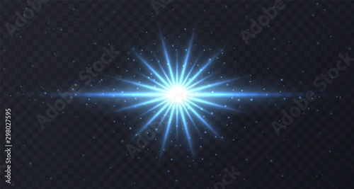Fototapeta Shining flare with stars and sparkles isolated on dark transparent background. Blue lens flare, stardust, shining star with rays concept. Glowing vector light effect. obraz