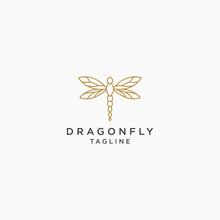 Dragonfly Logo Icon Design Template. Elegant, Luxury, Gold, Modern Vector Illustration