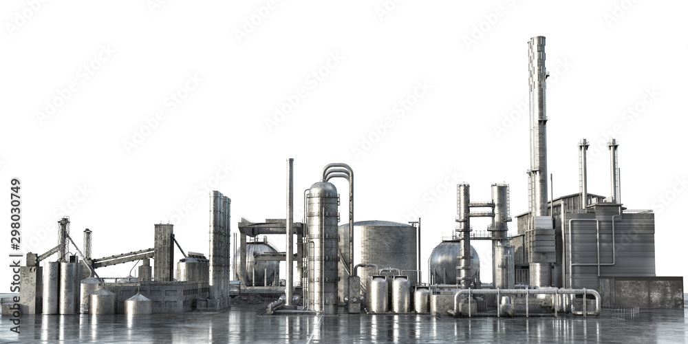 Fototapety, obrazy: Industrial concept. Big factory isolated on a white background. 3d illustration