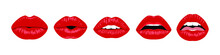 Set Of Red Sexy Female Lips