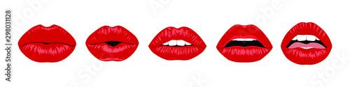 Obraz Set of Red sexy female lips - fototapety do salonu