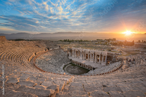 Beautiful sunset view of the Ancient theater of the Roman city of Hierapolis in Pamukkale, Turkey Canvas Print