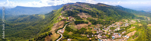 Autocollant pour porte Europe du Nord Top view Aerial photo from flying drone over Mountains and winding mountain paths exciting steep at Phu Thap Boek ,Phetchabun Province,Thailand,ASIA.