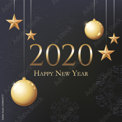 Greeting Card 2020 Happy New Year Canvas Print