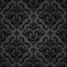 Classic Seamless Vector Pattern. Damask Orient Dark Ornament. Classic Vintage Background. Orient Black Ornament For Fabric, Wallpaper And Packaging