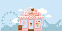 Small Gelateria Shop, Vector Illustration. Family Business Ice Cream Cafe In Amusement Park. Summer Gelato Store, Cozy Exterior, Outdoor Town Landscape