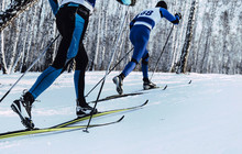 Two Athletes Skiers Move In Cr...