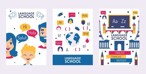 Language school banner, vec...