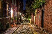 Acorn Street Boston At Haloween