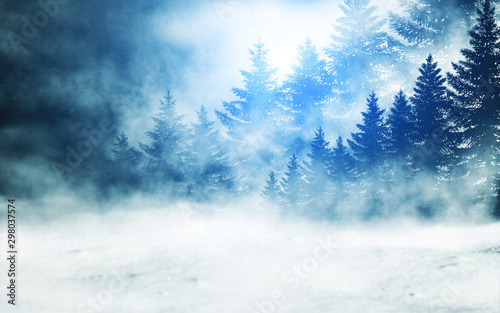 Dark winter forest background at night. Snow, fog, moonlight. Neon figure in the center - 298037574