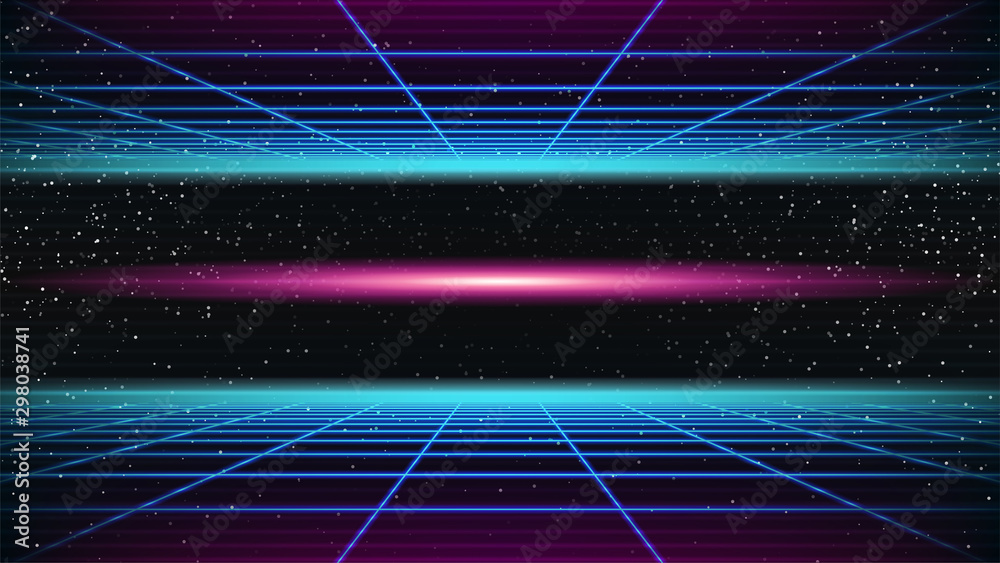 Fototapety, obrazy: Synthwave background. 80s Retro style. Dark Futuristic 3d backdrop with blue Perspective Grids and red scary glowing in distance. Geometric sci-fi digital template. Stock vector illustration
