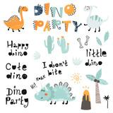 Fototapeta Dinusie - Set of cute dinosauts, lettering for children print.