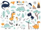 Fototapeta Dinusie - Set of cute dinosauts, foliage, volcano, cactus