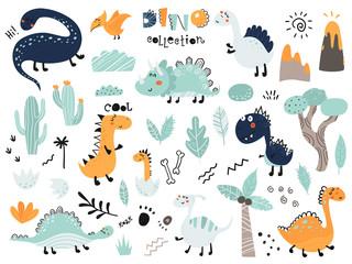 Set of cute dinosauts, foliage, volcano, cactus