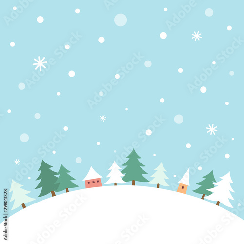 Foto auf Leinwand Licht blau Little houses with winter fir trees landscape
